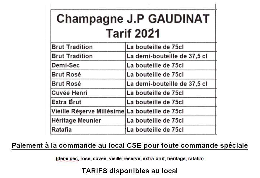 Champagne tarifs 2021